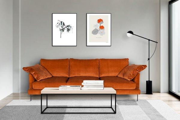 Диван Boom оранжево-коричневый