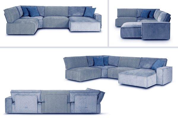 Модульный диван Boni голубой